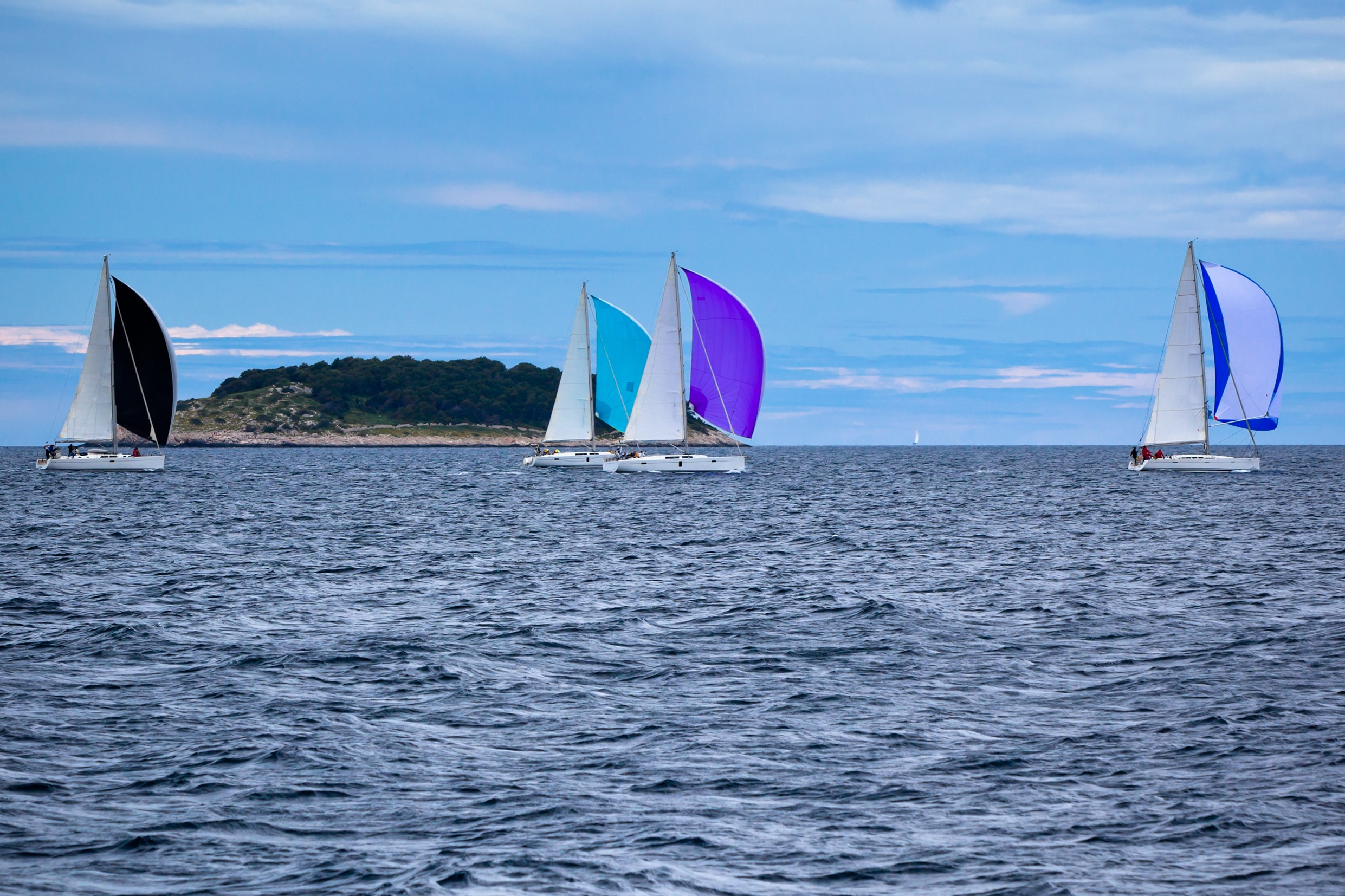 Yacht Regatta at the Adriatic Sea in windy weather. Horizontal shot